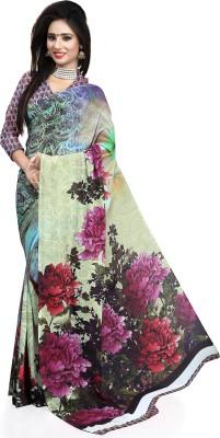 Waahdil Fashion Floral Print Bollywood Art Silk Sari