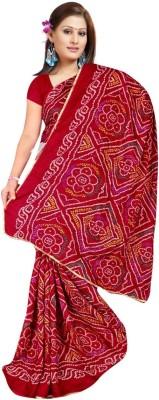Sangeetasarees Printed Bandhej Handloom Crepe Sari