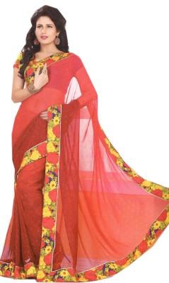 Purple Boat Printed Fashion Pure Chiffon Sari