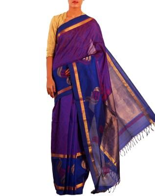 Unnati Silks Embellished Dharmavaram Handloom Silk Cotton Blend Sari