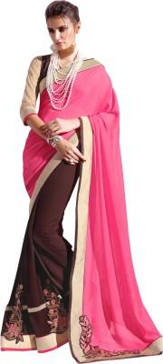 Parisha Embroidered Daily Wear Chiffon, Georgette Sari(Pink, Brown) at flipkart