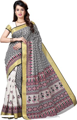 M.S.Retail Printed Gadwal Cotton Saree(White, Black) at flipkart