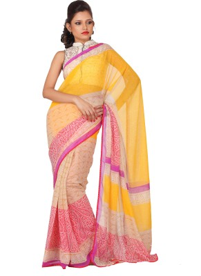 Sanghmitra Creations Checkered Fashion Crepe Sari