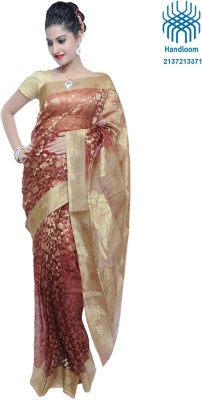 Angika Handlooms Self Design Banarasi Silk Sari