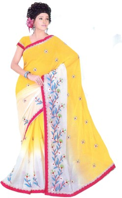 Aburadha Saree Embriodered, Solid Garad Handloom Chiffon Sari