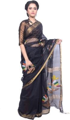 Tanjinas Woven, Floral Print Muslin Handloom Muslin Sari