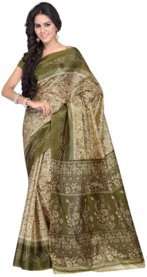 Desi Look Floral Print Bollywood Art Silk Sari