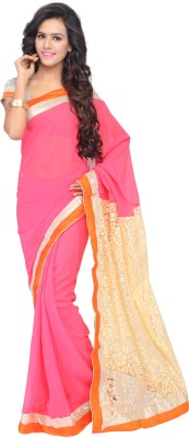 Shree Parmeshwari Solid Bollywood Georgette, Brasso Sari
