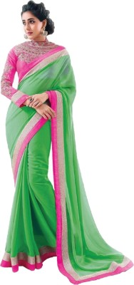 JK Fabrics Plain Fashion Georgette Sari