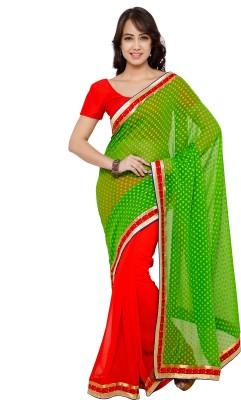 sarvagny clothing Self Design Fashion Jacquard, Georgette Saree(Green, Red) at flipkart