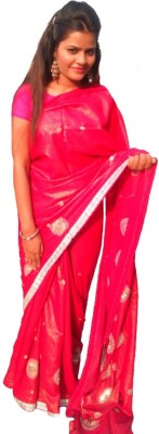 Sams Collection Self Design Fashion Georgette Sari