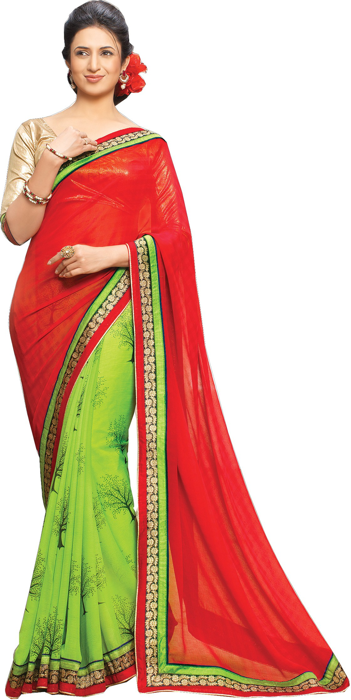 Indianbeauty Self Design Bollywood Georgette Sari(Red, Green)