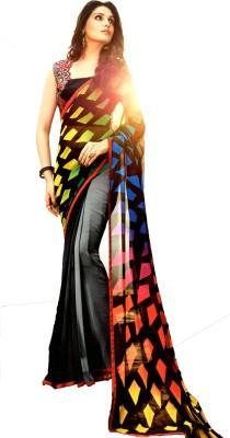 Ganghs Digital Prints, Geometric Print Bollywood Georgette Sari