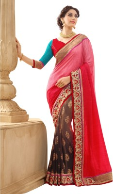 Aagamanfashion Embriodered Fashion Synthetic Georgette, Jacquard Sari