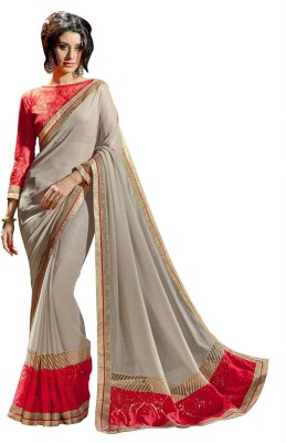 Aagamanfashion Self Design Fashion Shimmer Fabric, Synthetic Georgette Sari
