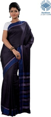 Tantuja Solid Tangail Handloom Silk Saree(Black) at flipkart