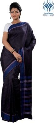 Tantuja Solid Tangail Handloom Silk Saree(Black) at flipkart