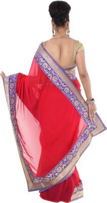 Vikrant Collections Plain Chanderi Georgette Sari
