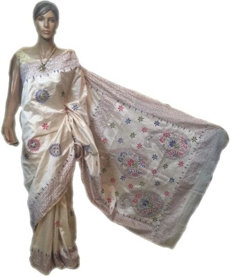 VanshikasCollections Embriodered Kantha Tussar Silk Sari