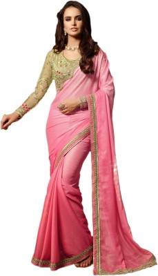 M.S.Retail Embroidered Bollywood Georgette Saree(Pink) at flipkart