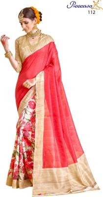 Peecaso Floral Print Bhagalpuri Art Silk Sari