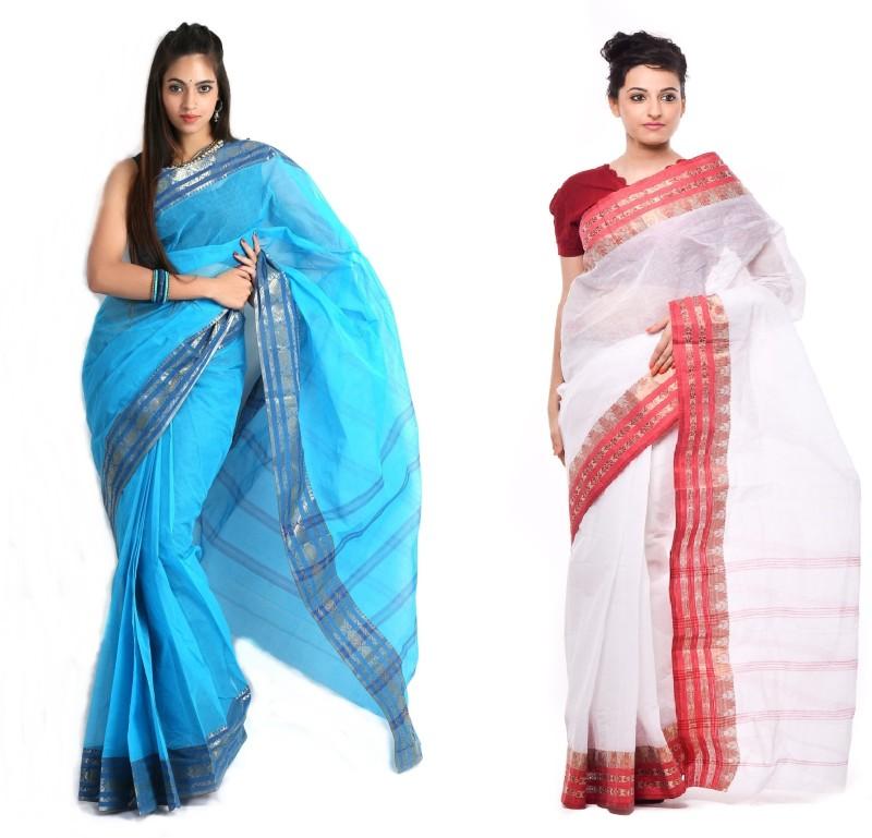 Purabi Woven Tant Handloom Cotton Saree(Pack of 2, Blue, White)
