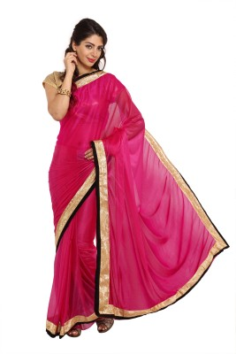 Parchayee Solid Fashion Synthetic Saree(Pink) at flipkart