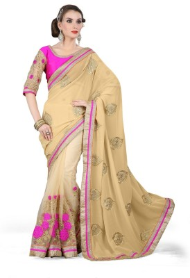 Youth Mantra Embriodered, Embellished Bollywood Georgette, Net Sari