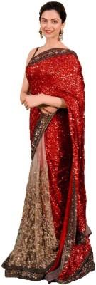 SRK Self Design Bollywood Handloom Net, Georgette Sari