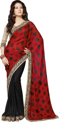 Queenbee Polka Print, Embriodered, Self Design Fashion Georgette Sari