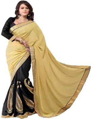Radhecreation Embriodered Bollywood Handloom Georgette, Satin Sari