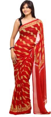 Lime Striped Fashion Handloom Georgette Sari