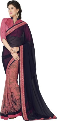 Awesome Self Design Fashion Pure Georgette Sari