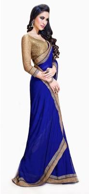 Izaa Fashion Solid Fashion Chiffon Sari