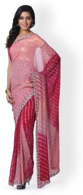 Kasturi-B Swadeshi Karigari Striped Leheria Handloom Pure Georgette Sari