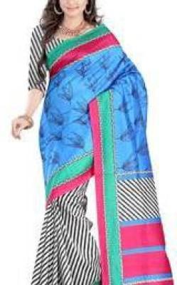 ARVM SAREES Printed Lucknow Chikankari Art Silk Sari