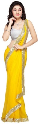 Frocksme Plain Bollywood Pure Chiffon Sari