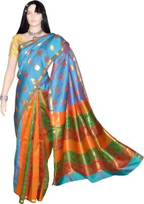 Kanchipuram Silk Self Design Kanjivaram Handloom Silk Saree(Multicolor) at flipkart