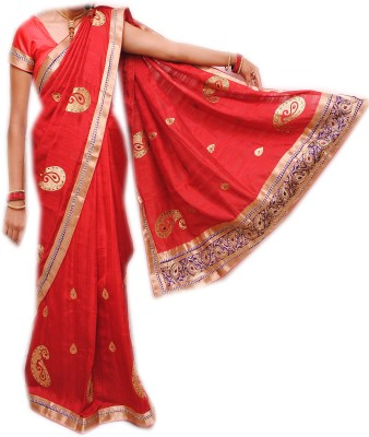 Venilal Embriodered Fashion Polycotton Sari