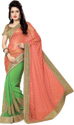 Ayushi Apparel's Embriodered Bollywood Georgette, Jacquard Sari
