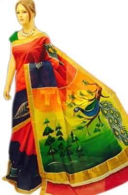 MCLS FASHION Hand Painted Gajee Cotton Sari