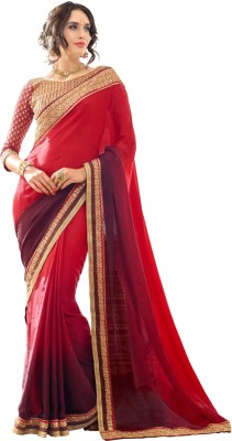 Aagamanfashion Striped Fashion Synthetic Georgette, Jacquard Sari