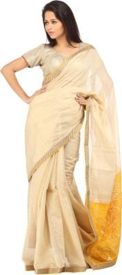 Charming Solid Lucknow Chikankari Chanderi Sari