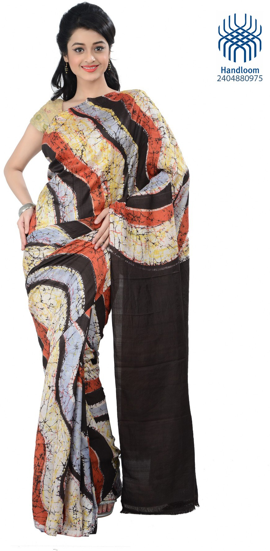 Tantuja Printed Fashion Handloom Silk Saree(Multicolor)