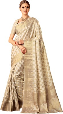 M.S.Retail Self Design Kanjivaram Silk Saree(White) at flipkart
