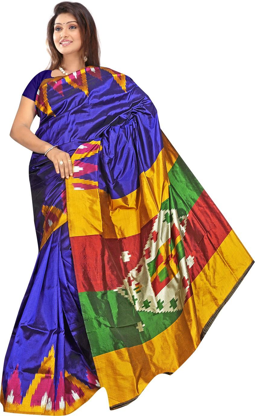 Roopkala Silks Printed Pochampally Handloom Pure Silk Saree(Blue, Pink)