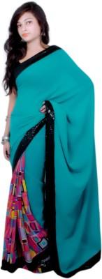 Aifaa Graphic Print, Plain Fashion Pure Georgette Sari