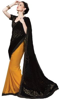 Fashion Forever Embellished Fashion Velvet, Chiffon Sari