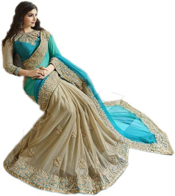 Shree Creation Embroidered Bollywood Poly Silk Saree(Light Green, Beige)