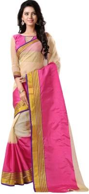 BAPS Embellished Bollywood Net, Cotton Saree(Beige, Pink) at flipkart